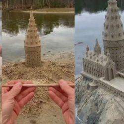 Un escultor hace el castillo de Hogwarts con arena
